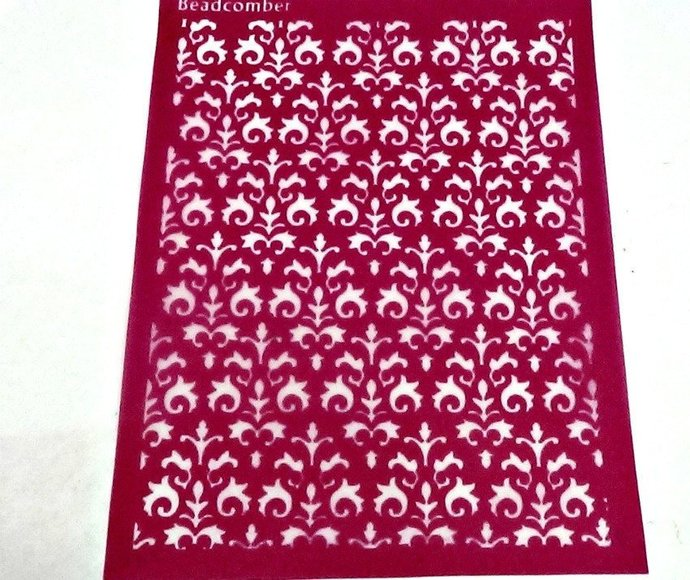Beadcomber Silk Screen - Brocade Silkscreen for Polymer clay, or flat surfaces