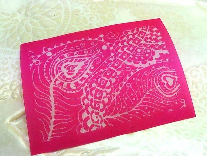 Beadcomber Silk Screen - Silkscreen Peacock feathers 1 - for polymer clay and