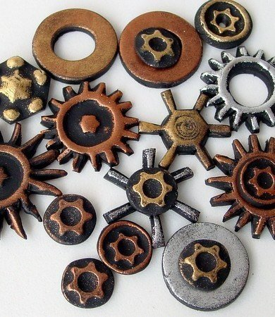 Create your own Steampunk Cogs Gears plus Pendant - Polymer Clay Tutorial -