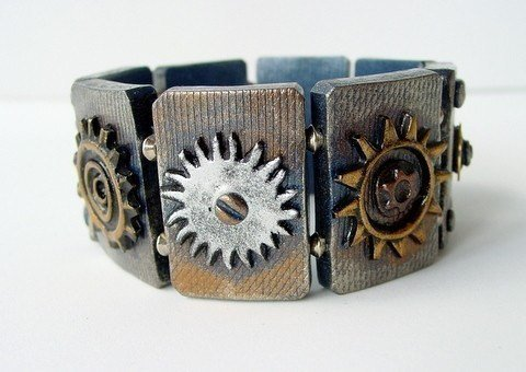 Steampunk Polymer Clay Tiles - Stretch Bracelet - Polymer Clay Tutorial -