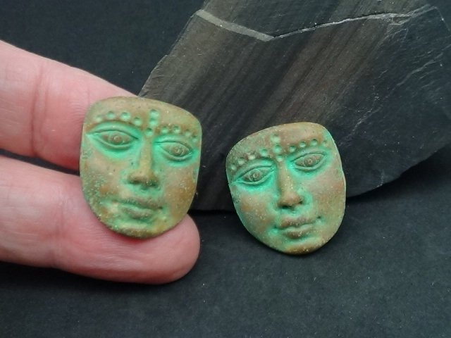 Primitive or Artifact Face - Choose Single or Pair - Art Doll Face or Mask