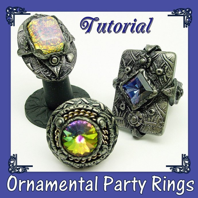 Ornamental Large Rings - Party Dinner Cocktail Concert Rings- Conversation