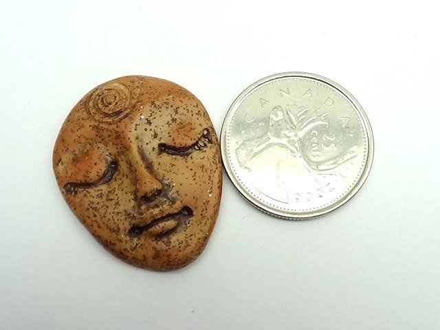 Art Doll Face Cabochon in antiqued faux ryolite - handmade