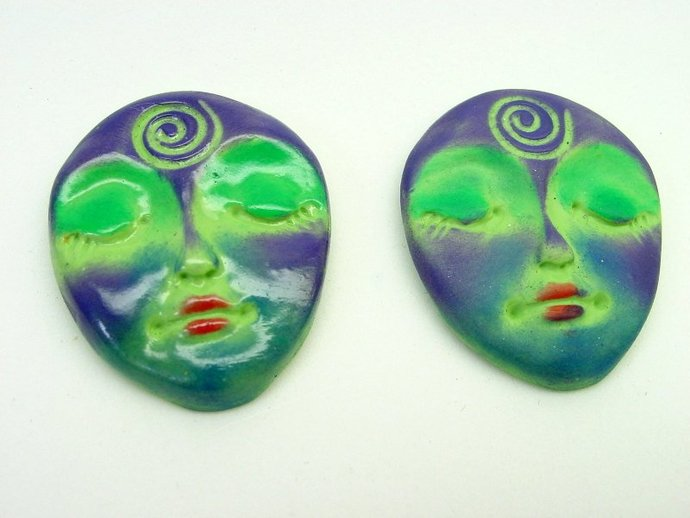 Colors Art Doll Face Cabochon with symbolic spiral - handmade