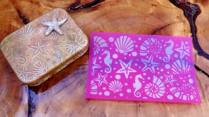 Beadcomber Silk Screen stencil - Sea horses, starfish, nautilus, shell design -