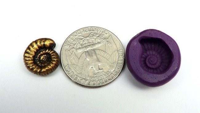 Silicone Flex Mold - 15mm Nautilus or Ammonite - for Polymer Clay, Resin, Clay,