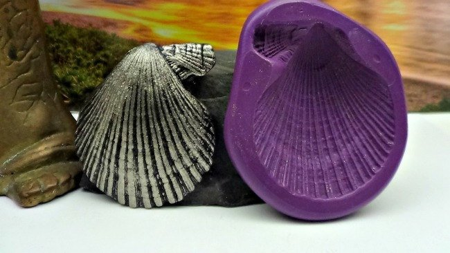 Silicone Flex Mold - 40mm Scallop Shell - for Polymer Clay, Resin, Clay,