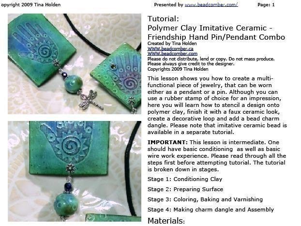 Beadcomber Imitative Ceramic - SILKSCREEN or Stamp on Polymer Clay tutorial -