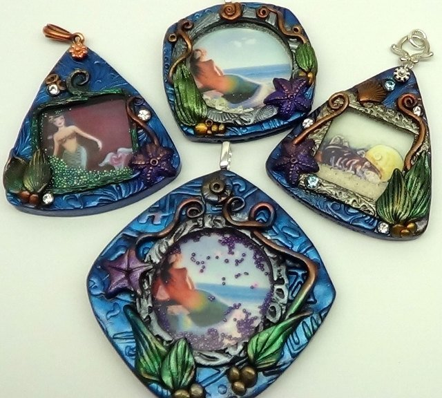 Aquarium Pendants with moving Sand or Beads - Polymer Clay Tutorial - Digital