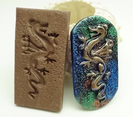 Dragon Mold with textured background - Polymer Clay