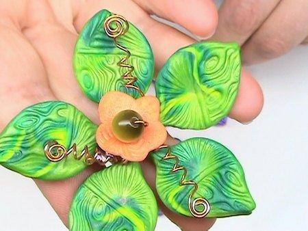 Bright Flower Pendants - Polymer clay multi media Tutorial -  Digital PDF File