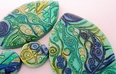Batik and Shimmer Technique and Jewelry - Polymer Clay Tutorial - Digital PDF