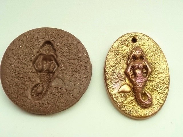 36 mm round Mermaid cabochon or pendant mold - Polymer Clay