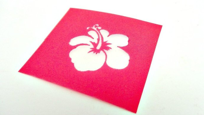Beadcomber Silk Screen - 1 inch Hibiscus Flower Design Silkscreen for Polymer