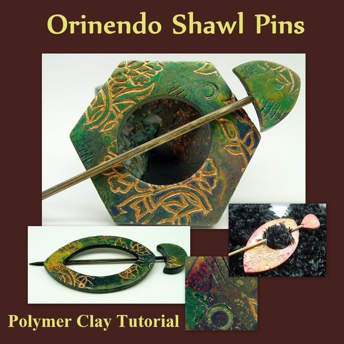Golden Patterns Hair or Shawl Pin - Polymer Clay Tutorial - Digital PDF Download