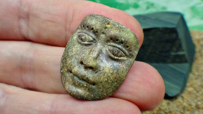 Artifact mask - Art Doll Face Cabochon in brown - handmade