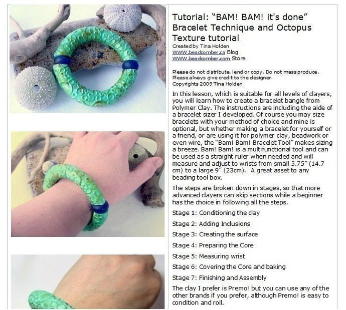 BAM BAM it's done Bracelet - All levels - Polymer Clay Tutorial- Digital PDF