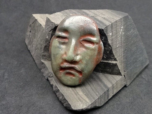 Pre Columbian style - Art Doll Face - Primitive Artifact Face - faux or