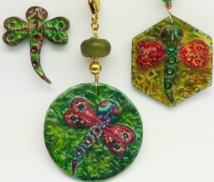 Polymer Clay Tutorial - Dragonfly Pendants - Digital PDF File - Instant Download