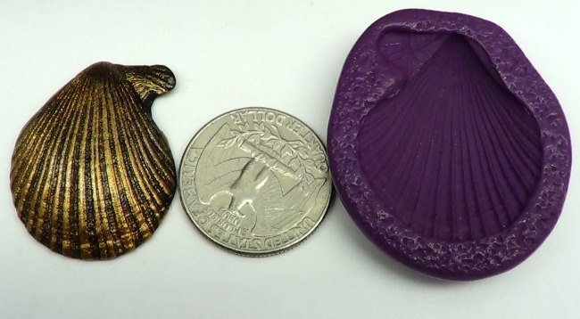 Silicone Flex Mold - 34mm Scallop Shell - for Polymer Clay, Resin, Clay,