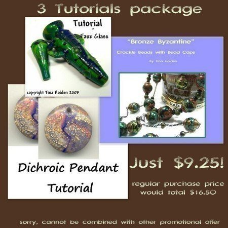 3 tutorial variety package - Faux Lampwork, Dichroic, Crackle Beads, Bead caps -
