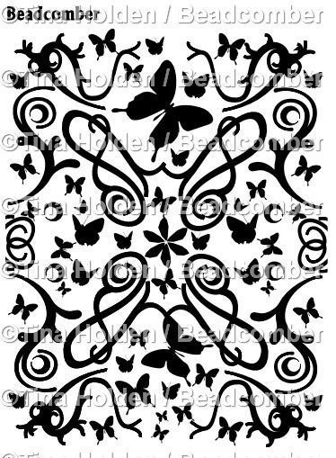 Beadcomber Silk Screen - Butterflies and Vines Silkscreen for Polymer clay, or