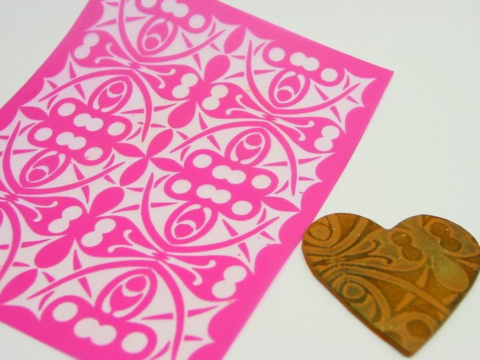 Beadcomber Silk Screen - Holly Leaf Kaleidoscope Silkscreen - Polymer clay,
