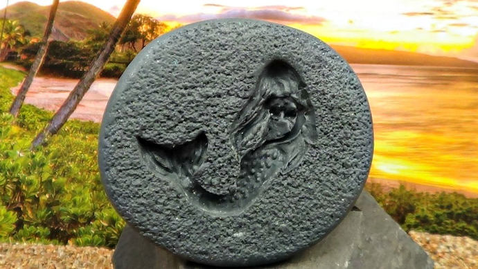 Large Mermaid no 2 Mold with textured background - Polymer Clay