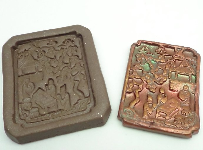 Antique Chinese Garden Scene Mold Style 1 - Polymer Clay