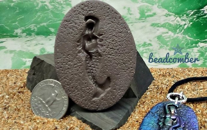 Mermaid or Siren Mold - Artist made - Oval with textured background - Polymer