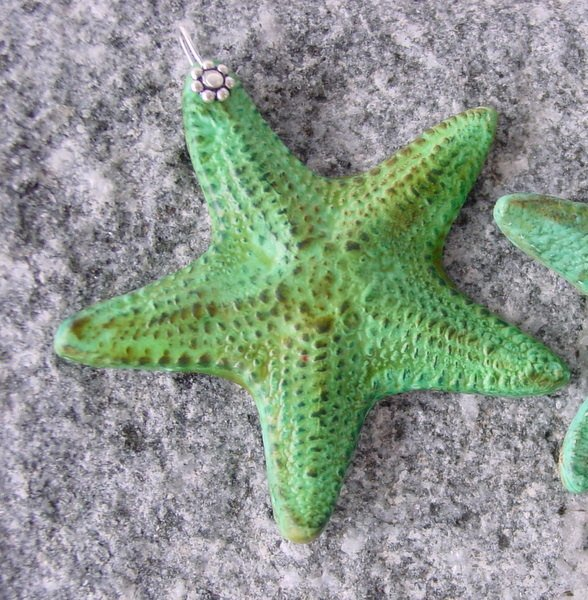 55mm Amber brown handmade Sea Star Pendant