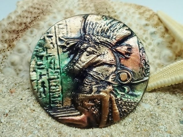 40 mm Egyptian Horses Cabochon - handmade