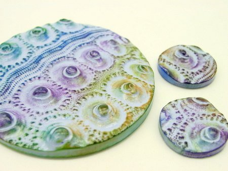 Set of 3 Sea Urchin cabochons or pendants