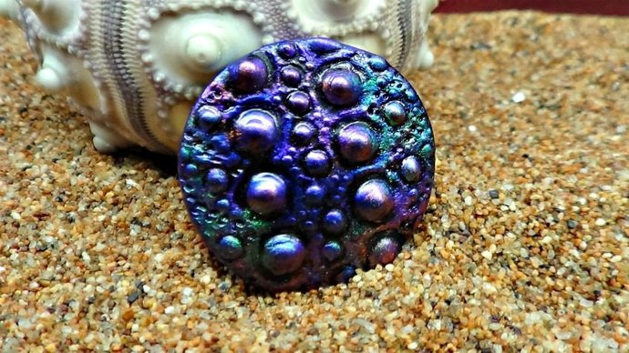 Sea Urchin Cabochon or Pendant in various sizes - Polymer Clay - Imitative Raku