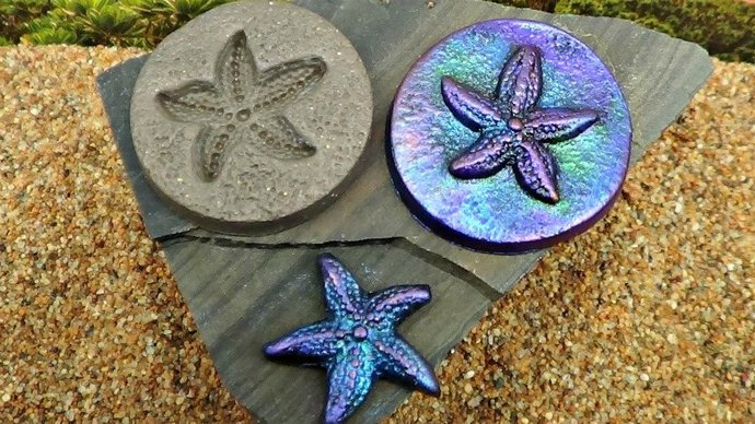 36mm round Starfish MOLD - Make pendants, buttons, cabochons - Polymer Clay