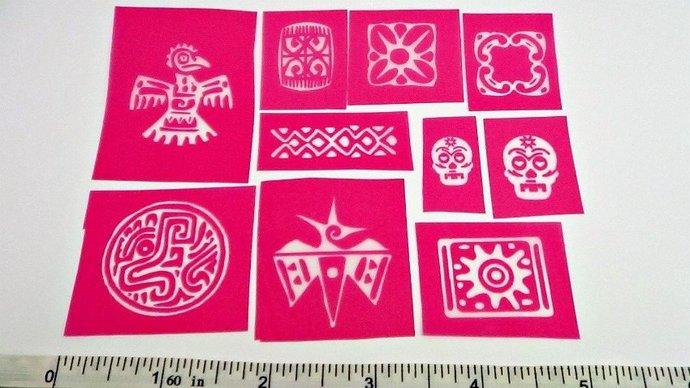 Beadcomber Silk Screen - 10 Tribal  Silkscreen sampler kit for polymer clay,