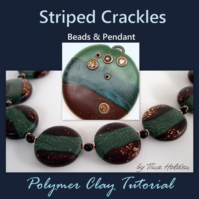 Striped Crackle Beads and Pendants - Polymer clay Tutorial - Digital PDF