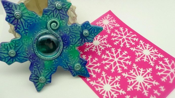 Beadcomber Silk Screen - Snowflake D3 Silkscreen Design for polymer clay, paper,