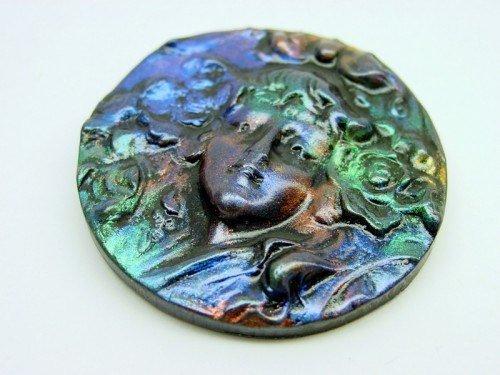 40 mm round Oilslick Cameo Cabochon - handmade