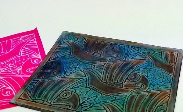 Beadcomber Silk Screen - Fish and Boat Puzzle Silkscreen for Polymer clay and