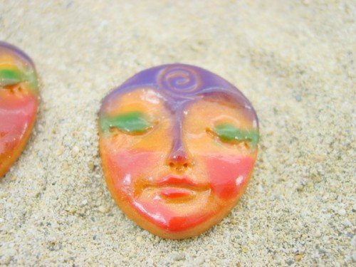 Orange Art Doll Face Cabochon with symbolic spiral - handmade