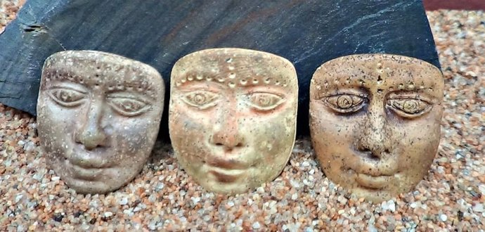 Trio of 3 colors - Art Doll Face Cabochons or pendants - handmade - Faux Stone