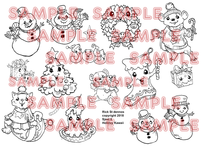 kAWAII kUTIES SHEET 6 Kawaii Holiday A