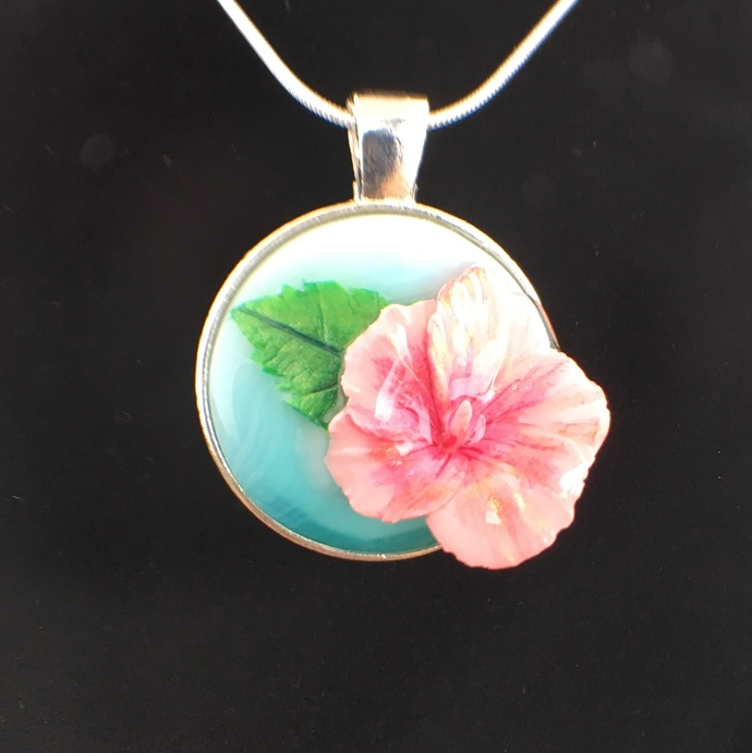 Pink Hibiscus Pendant 1 By Clayflower On Zibbet