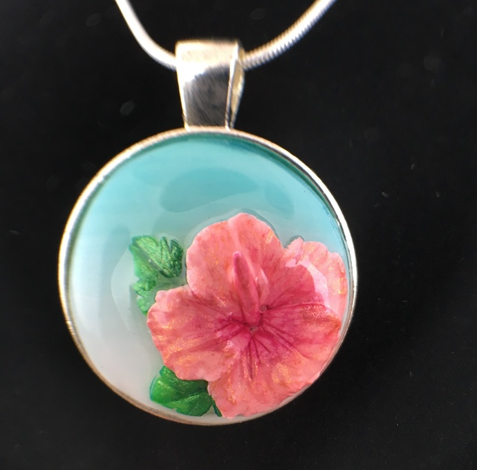Pink Hibiscus Pendant 2 By Clayflower On Zibbet