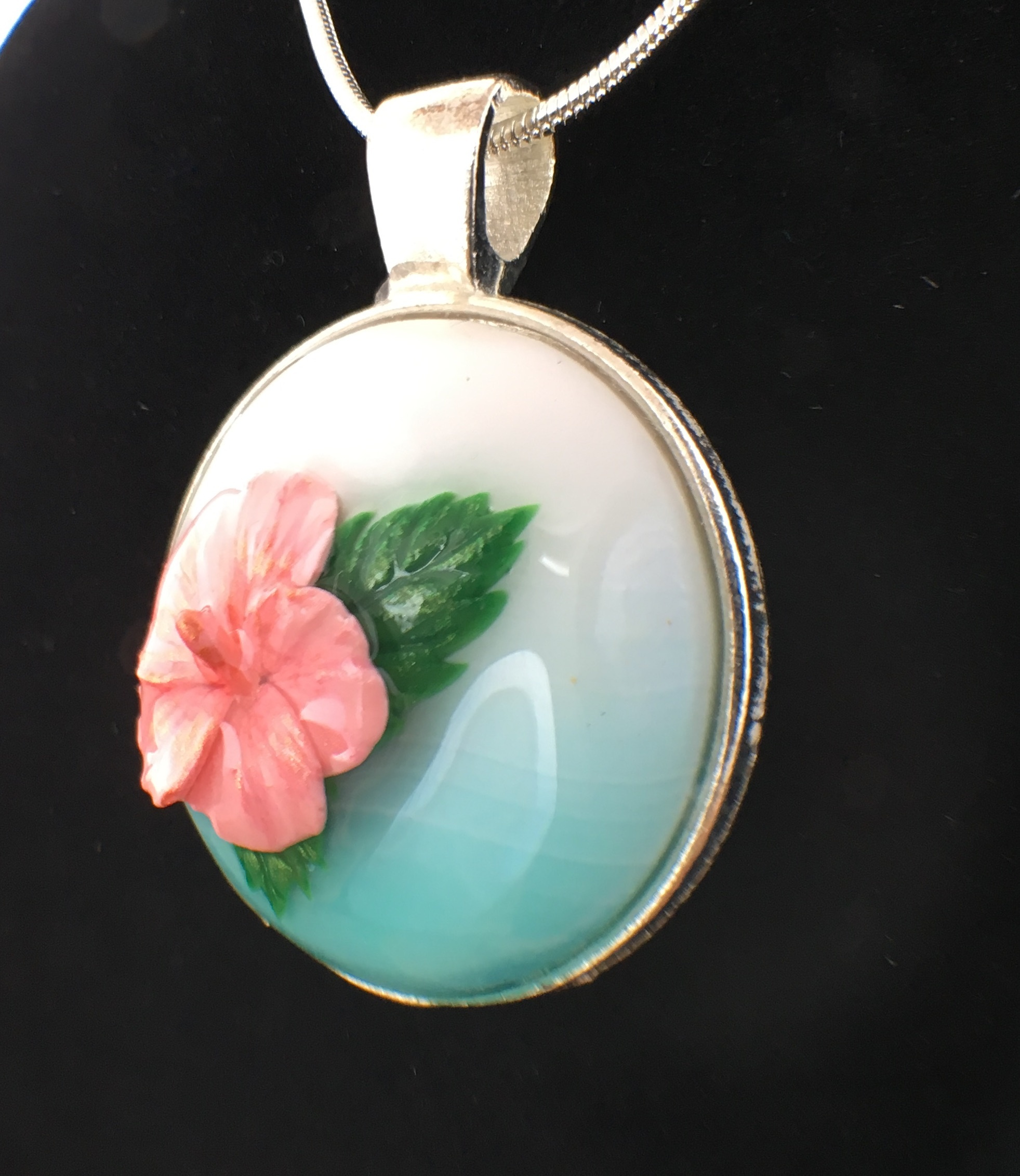 Pink Hibiscus Pendant 3 By Clayflower On Zibbet