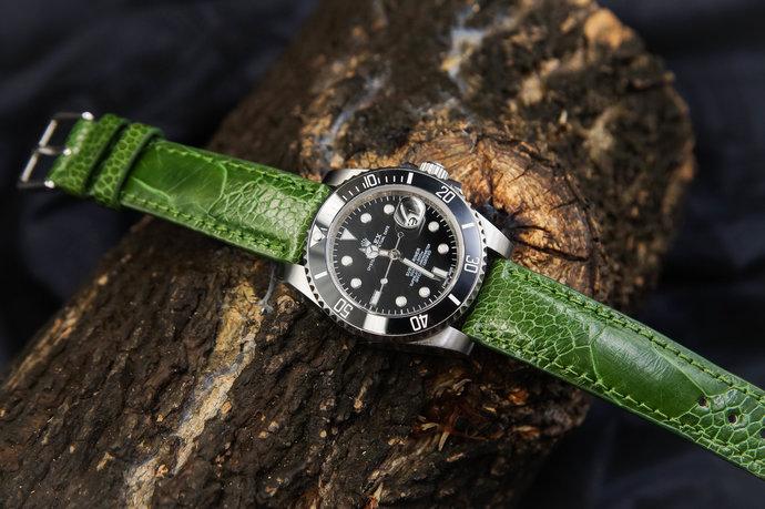 d12bc574b Green Ostrich Leather Handmade Watch Strap Watch Band B1 20mm Lug Watches  Men