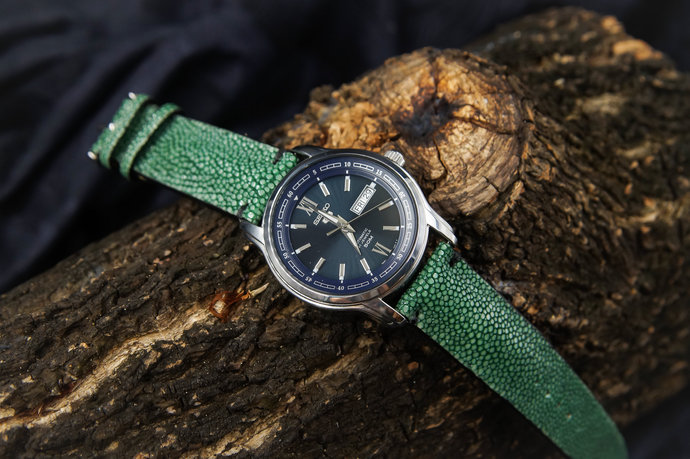 bc6a08970 Green Stingray Leather Handmade Watch Strap Watch Band for 22mm Lug Watches  Men