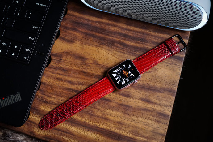 Red Lizard Leather Skin Apple Watch Band fits 42mm Apple Watches Series 3,2,1