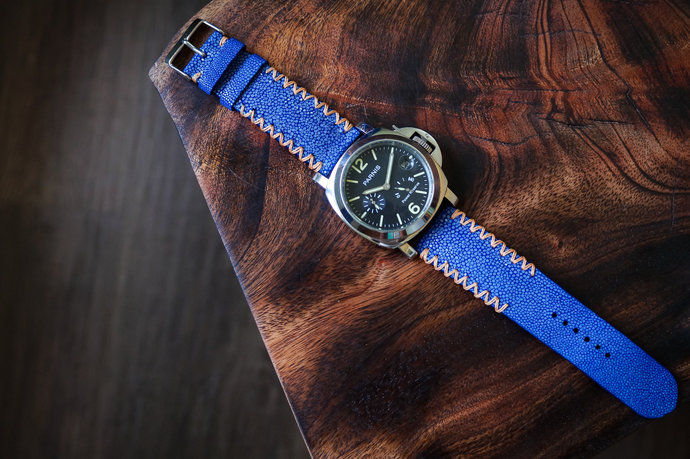 b40177333 Blue Stingray Styled with Beige Stitches Leather Handmade Watch Strap Watch